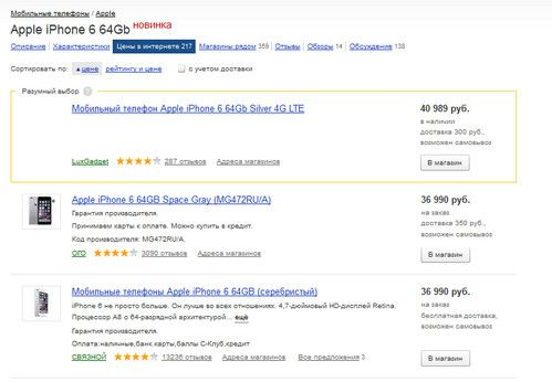 Страница Яндекс.Маркета «Цены в интернете» пополнилась дополнительным местом показа